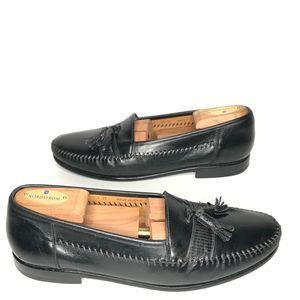 Magnanni Black Leather Tassel Dress Loafers 8.5